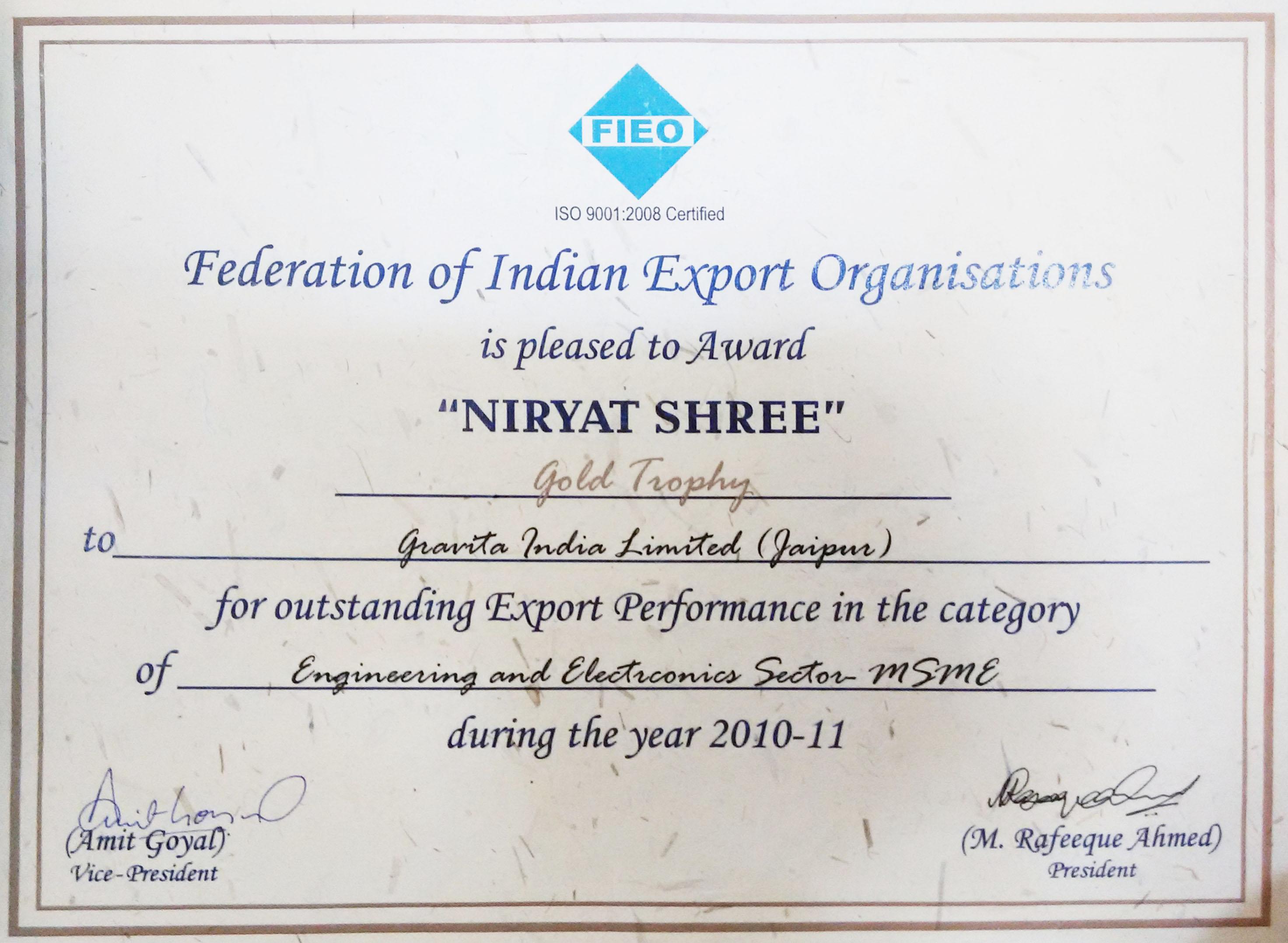 Gravita gets niryat shree award gravita india ltd niryat shree award certificate xflitez Gallery